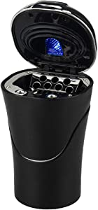 Global-store Car Ashtray, with Cigarette Lighter Rechargeable, Blue LED Indicator Smokeless Detachable and Portable for Universal Car Cup