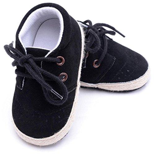 Tefamore Los zapatos infantiles recién nacidos del pesebre de los muchachos de las muchachas calzan los zapatos antideslizantes suaves de las zapatillas Negro