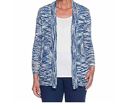 Alfred Dunner Women's Gypsy Moon Long Sleeve Open Front Cardigan, Petite Medium, Indigo