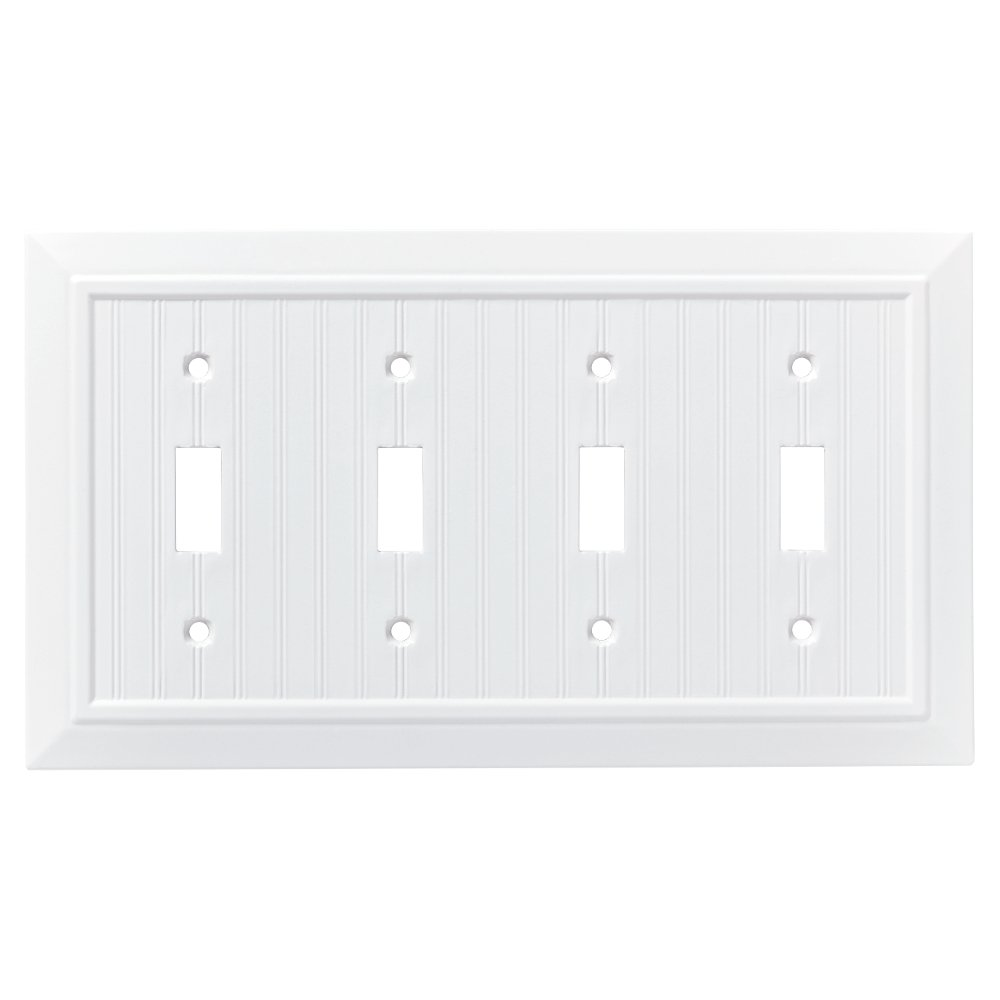 Franklin Brass W35275-PW-C Classic Beadboard Quad Switch Wall Plate/Switch Plate/Cover, Pure White