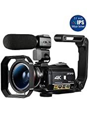 Ordro AC3 4K Camcorder WiFi Video Camera(1080P 60FPS,30X Digital Zoom, 3.1 Inch IPS Touch Screen,Infrared Night Vision,Microphone,Wide Lens, Lens Hood)- Black