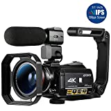 Ordro AC3 4K Camcorder WiFi Video Camera(1080P 60FPS,30X Digital Zoom,Touch Enabled 3.1-Inch 270 Degree Flip...