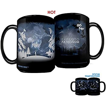 Morphing Mugs Harry Potter Expecto Patronum Spell Heat Reveal Clue Ceramic Coffee Mug - 15 Ounces