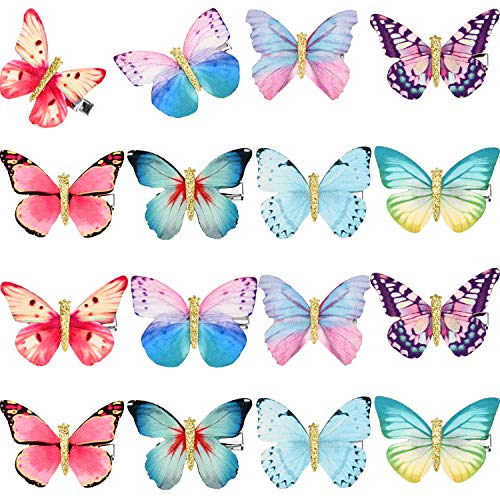 - Gejoy 16 Pieces Butterfly Clips Baby Hair Clips Butterfly Glitter Barrette for Women Girl and Infant (Style 1)