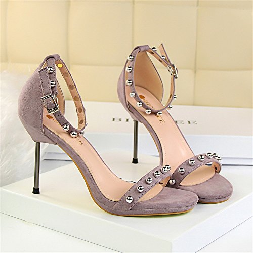 z&dw Elegantes tacones de tacón alto resistente al agua de mesa de terciopelo superficies de metal perlas con sandalias Violeta claro