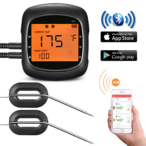 TopElek BBQ Thermometer Instant Read Food Cooking Large Backlit Display, One-Click Bluetooth Connection, 2 Stainless Steel Probes, Digital Meat Grilling, Kitchen, Portable, Black