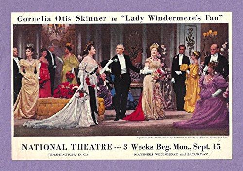 """Oscar Wilde """"LADY WINDERMERE'S FAN"""" Cornelia Otis Skinner / Rex Evans 1947 Flyer"""