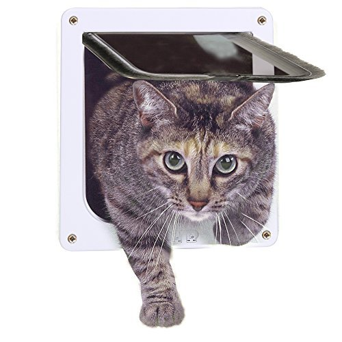 "Lufei Cat Door 4-Way Locking Pet Door for Interior Doors Exterior Doors with Opening Size 7.5"" x 7.8"" for Medium Small Cats & Kid Dog"