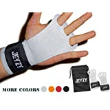 Jeyzy Leather youth gymnastics grips 3 hole hand grips with wrist support Palm Protection for pullups,Crossfit Training,weight lifting,barbells,chin ups,exercise,kettlebells,& more.(S, Gray)