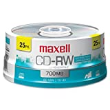 Maxell® - CD-RW Discs, 700MB/80min, 4x, Spindle, Silver, 25/Pack - Sold As 1 Pack - Rewritable.