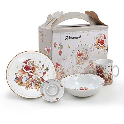 Christmas Dinner Dishes - Porcelain Dinnerware Set, Ceramic Tableware Set For Kids - Dinner Plate, Soup Bowl, Egg Dish & Mug, Christmas Tree Pattern 4-Piece Kid's Dish Set