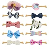 Fancy Clouds Baby Girl Headbands,10 Pack Hair Accessories Bow Flower for Newborn Infant Toddler … (bow)
