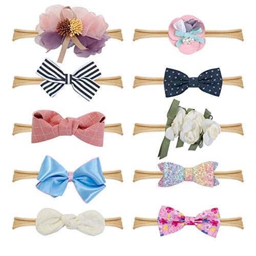 - Fancy Clouds Baby Girl Headbands Bows,10 Pack Hair Flowers Accessories for Newborn Infant Toddler Gift (flower)