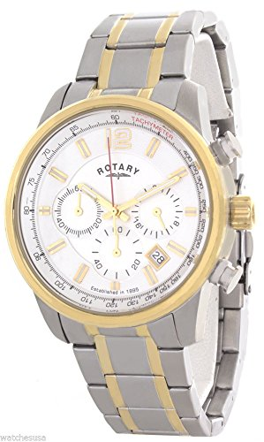 Rotary Men's White Dial Stainless Steel Two Tone Bracelet Chronograph Watch GB00423/02