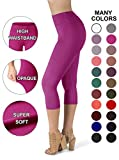 SATINA High Waisted Super Soft Capri Leggings - 20 Colors - Reg & Plus Size (One Size, Fuschia)