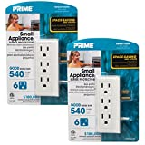 Prime 2 Space-Saving Side Electrical 6 Outlet Surge Wall Tap Protector Socket Smart Compact