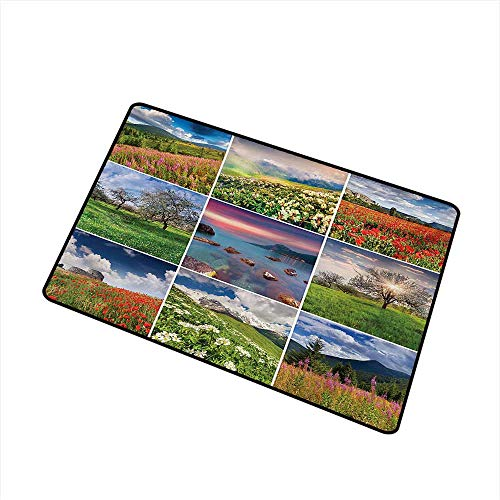 BeckyWCarr Summer Welcome Door mat Collage with Nine Different Square Framed Freshening Summer Landscapes Rural Nature Door mat is odorless and Durable W31.5 x L47.2 Inch,Multicolor