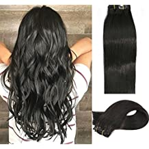 Vario Clip in Hair Extensions 22Inch 7pcs 70g Set #1 Jet Black Silky Straight 100% Real Remy Human Hair Extensions Balayage Hair