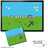 Set: 1 Door Mat Floor Mat (28x20 inches) + 1 Mouse Pad (9x7 inches) - Gaming, Craftsman