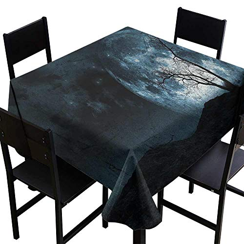 Tablecloth Custom Fantasy,Night Moon Sky with Tree Silhouette Gothic Halloween Colors Scary Artsy Background,Slate Blue D70,for Wedding Reception Nave Blue -