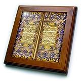 3dRose ft_162529_1 Purple and Gold Islamic Suras-Decorated Quran Prayers in Arabic Text-Islam Muslim Arabian Koran-Framed Tile Artwork, 8 by 8-Inch