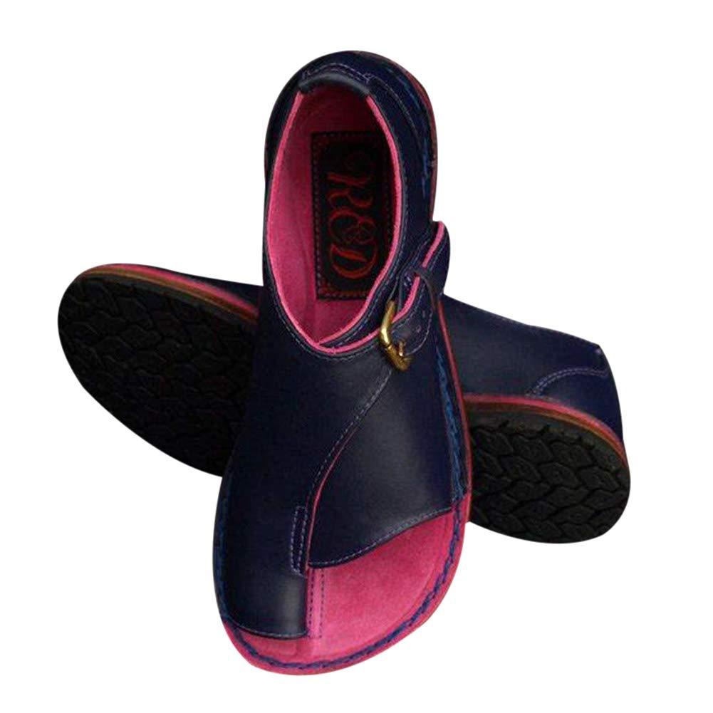 RollingBronze Women Buckle Strap Flat Heel Sandal Shoes Summer Beach Travel Shoes