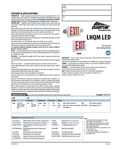 Lithonia Lighting LHQM LED R HO R0 M6 LED Exit Fixture with Red Letters and High Output Battery Backup by Lithonia Lighting (Image #1)