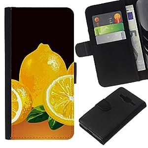 Stuss Case / Funda Carcasa PU de Cuero - Minimalista Limón Pintura - Samsung Galaxy Core Prime