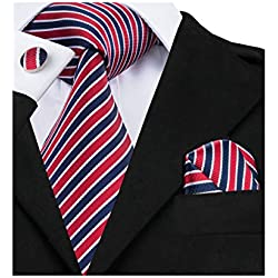 Barry.Wang Stripe Mens Tie Set Classic WOVEN Necktie with Handkerchief Cufflinks Formal (Blue Red 512)