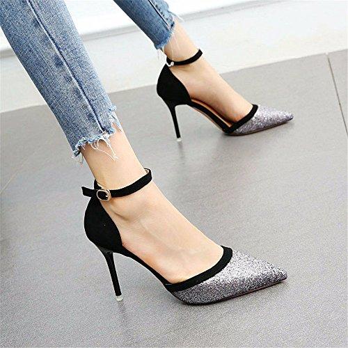 YMFIE La Multa de Las Mujeres con Lentejuelas señaló Elegante Temperamento Zapatos Huecos Solos Zapatos de tacón Alto A