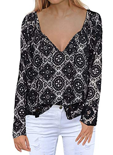 (MIHOLL Women's Casual Tops Long Sleeve V Neck Printed Chiffon Blouse Loose Shirts (Small, Black) )