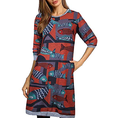 GIFC ▶Clearance Fashion Women Plus Size Bodycon Long Sleeve Fish Print O- Neck Casual Loose Dress