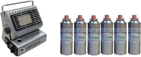 Estufa a gas portátil, de doble conexión (cartuchos de gas o bombona de gas) + 6 cartuchos de regalo