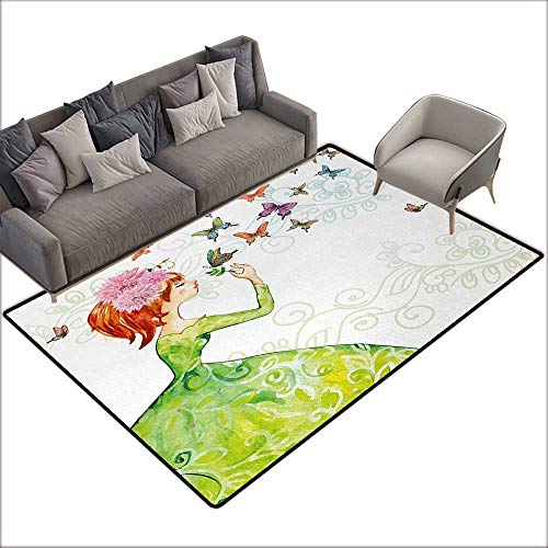 (Outside The Door mat Butterfly Floral Lady in Green Dress with Leaf Ornaments Flower Pastel Butterfly W70 xL82 Suitable for Bedroom, Living Room, Games Room, Foyer or Dining)