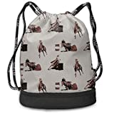 Barrel Racing Drawstring Bag Rucksack Shoulder Bags Travel Sport Gym Bag Print - Yoga Runner Daypack Shoe Bags with Zipper and Pockets