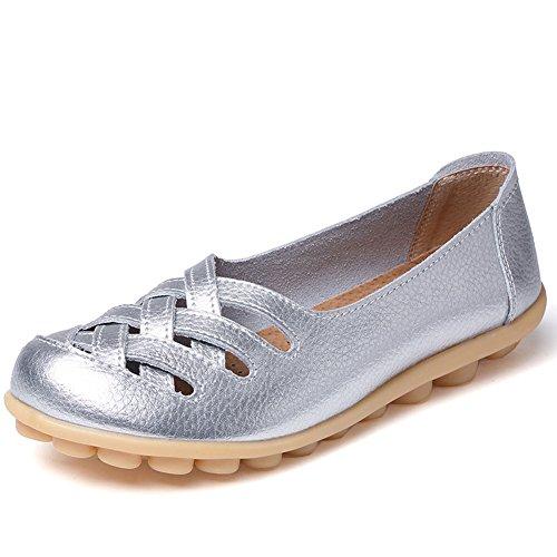 CIOR Damen Echtes Leder Loafers Casual Mokassin Fahr Schuhe Indoor Flache Slip-On Hausschuhe 4.silber