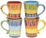 Certified International Tapas Mug, 18-Ounce, Assorted Designs, Set of 4