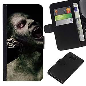 KingStore / Leather Etui en cuir / Samsung ALPHA G850 / Monstruo Spooky Demon Hombre;
