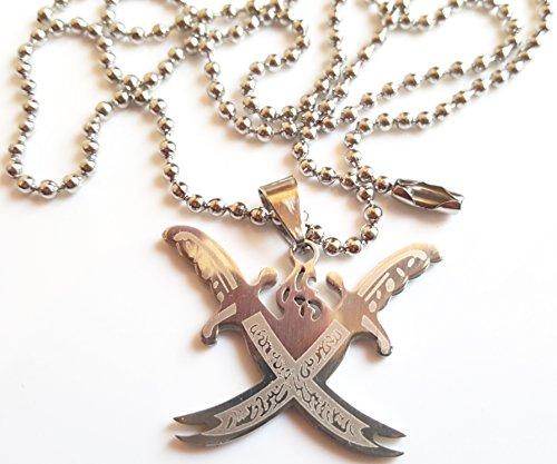 Imam Ali sword Necklace platinum plated Collier unisexe avec pendentif double Zulfikar en acier inoxydable plaqué platine - Épée de l'Imam Ali