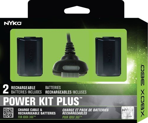Nyko Power Kit Plus - 2 Pack Rechargeable Battery with Charge Cable for Xbox 360 -
