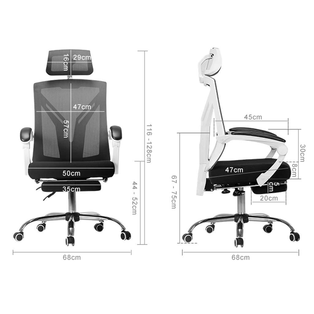Kontorsstol datorstol ergonomiskt ryggstöd roterande lyfthuvudkudde hem internetcafé svart och vit Svart