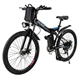 ANCHEER Folding Electric Mountain Bike with 26 Inch Wheel, Large Capacity Lithium-Ion Battery (36V 250W), Premium Full Suspension and Shimano Gear (Black) (Black)