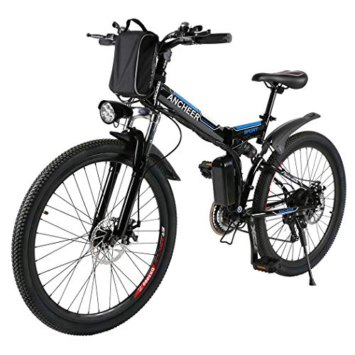 (ANCHEER Folding Electric Mountain Bike with 26 Inch Wheel, Large Capacity Lithium-Ion Battery (36V 250W), Premium Full Suspension and Shimano Gear (Black.))