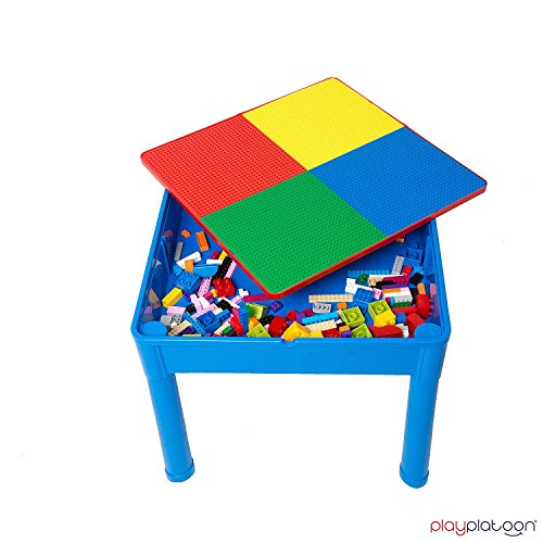Play Platoon Kids Activity Table Set - 3 in 1 Water Table, Craft Table Building Brick Table Storage - Includes 2 Chairs 25 Jumbo Bricks - Primary Colors by Play Platoon (Image #7)