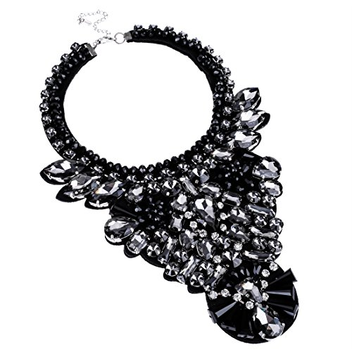 Jerollin Fashion Bling Handmade Gems Clear Black Glass Beads Statement Pendant ()