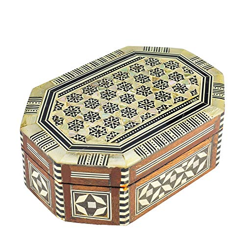 Arts of Egypt- Elegant Egyptian Inlaid Mother of Pearl Jewelry Collectibles Octagon Box 5 3/8