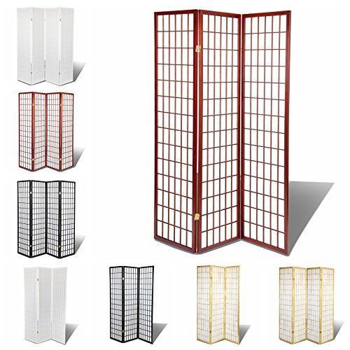 Oriental Room Divider Hardood Shoji Screen (Cherry, 3-Panel) - Cherry Panel