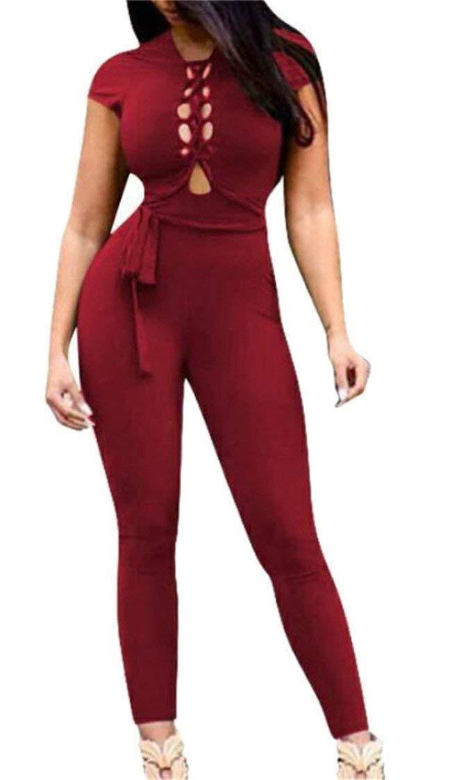 Summer Women Stylish Hollow Out Drawstring Open Back Long Romper Jumpsuits Clubwear