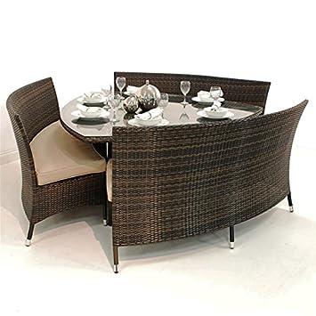 Excellent Triangle Rattan Dining Set Bermuda Grey Amazon Co Uk Machost Co Dining Chair Design Ideas Machostcouk
