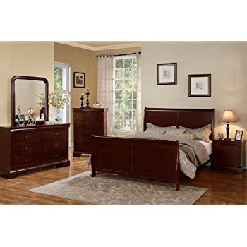 Louis Phillipe Cherry Wood King Size Bedroom Set Featuring French Style  Sleigh Platform Bed And Nightstand